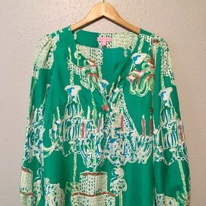 Lilly Pulitzer Swingers Silk Top Size M HTF RARE